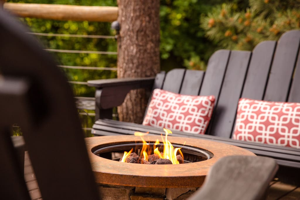The Fire Pit is perched on the front deck, overlooking the amazing Mountain View!