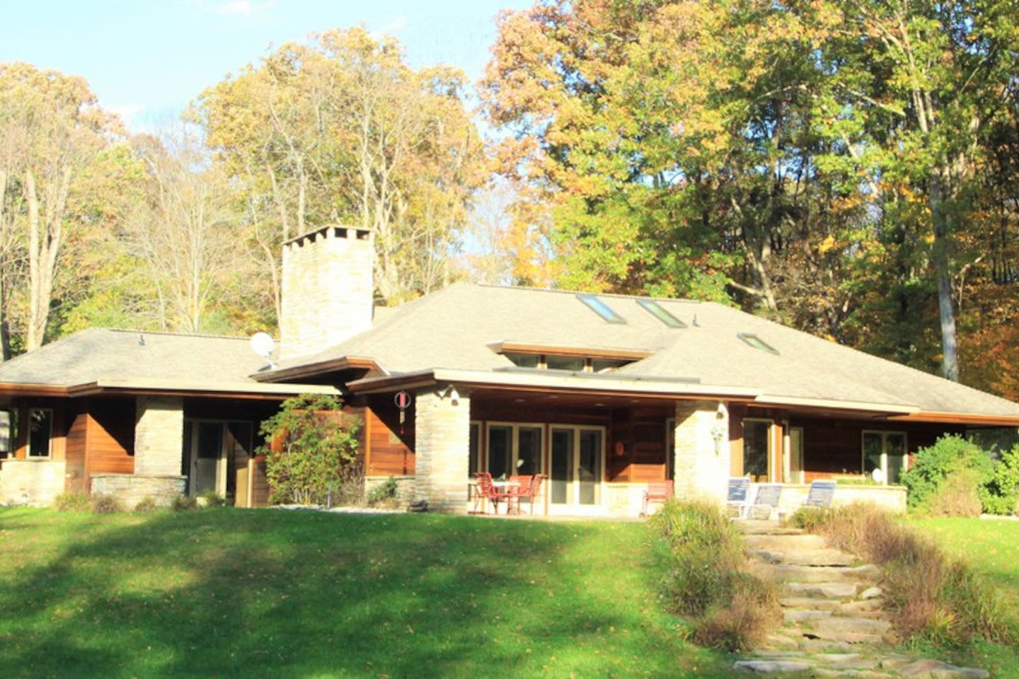 Enjoy this spectacular 3 BR, 3 BA, country estate, sits on 8 beautiful, streamside acres!