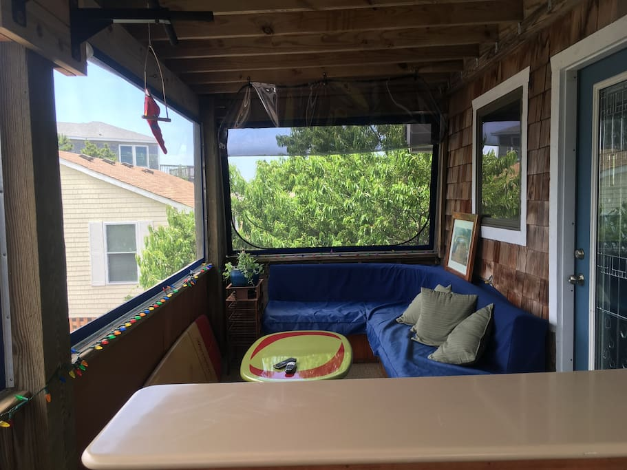 Private enclosed porch with TV