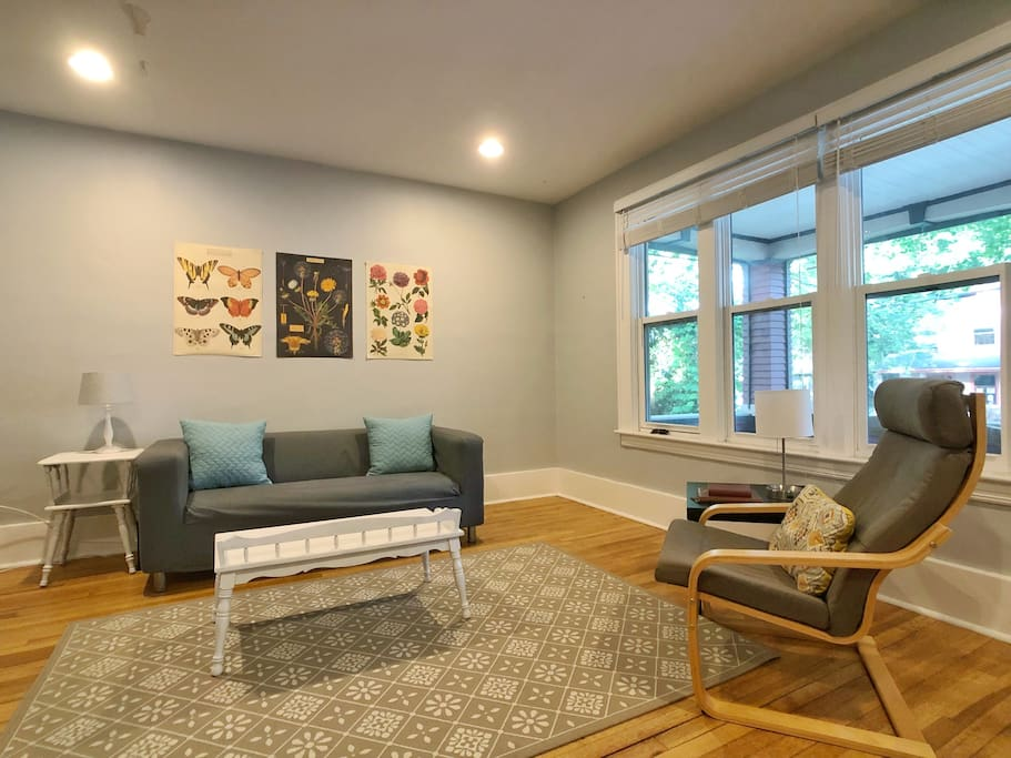 The living room is a common area with a view out to the front porch.