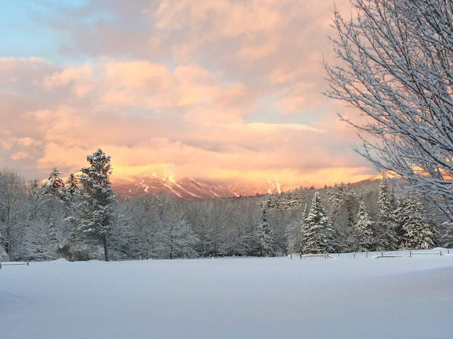 A typical view of the sun hitting Mt Mansfield in the morning. Best view ever!