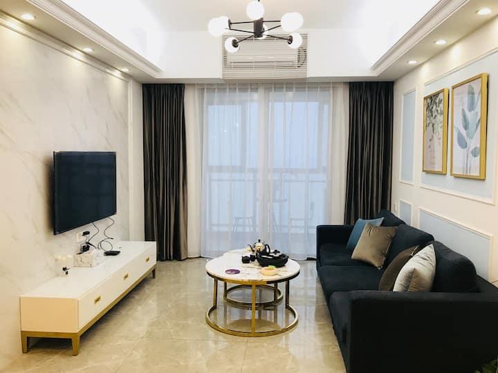 汕头南澳岛海泉湾海温泉度假公寓(正面海景)两房一厅亲子套房轻奢北欧风南澳海景房