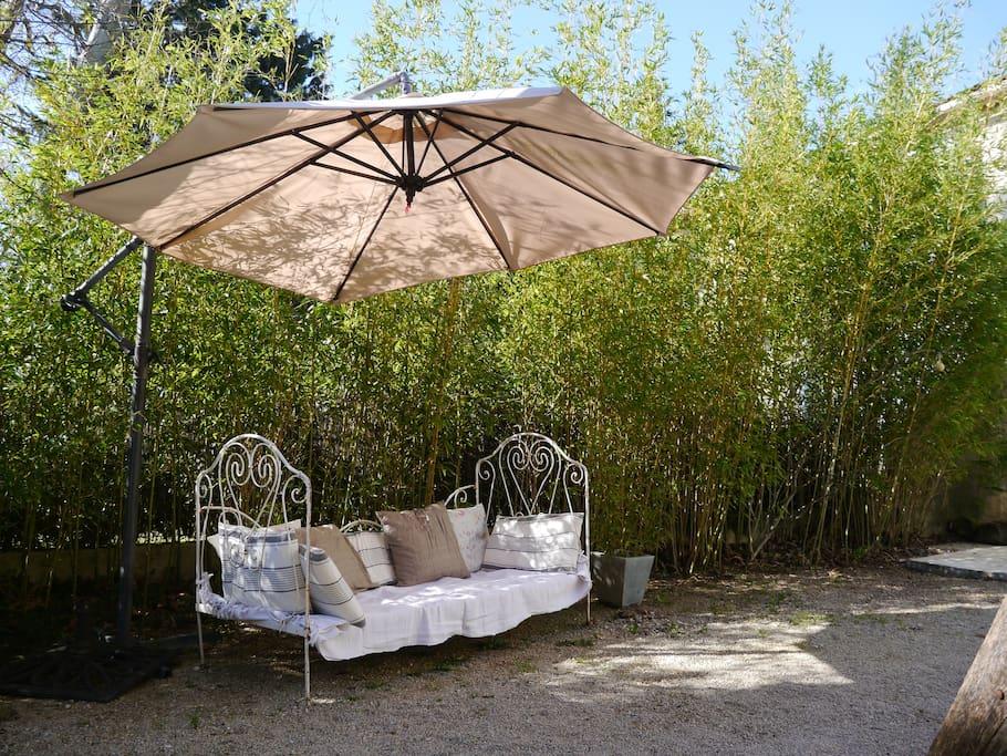 Petit moment de détente au coin des bambous