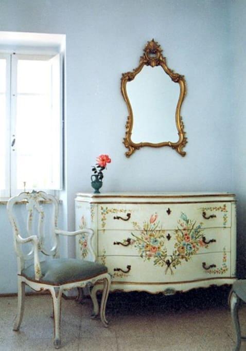 La Nostalgia apartment, light blue bedroom