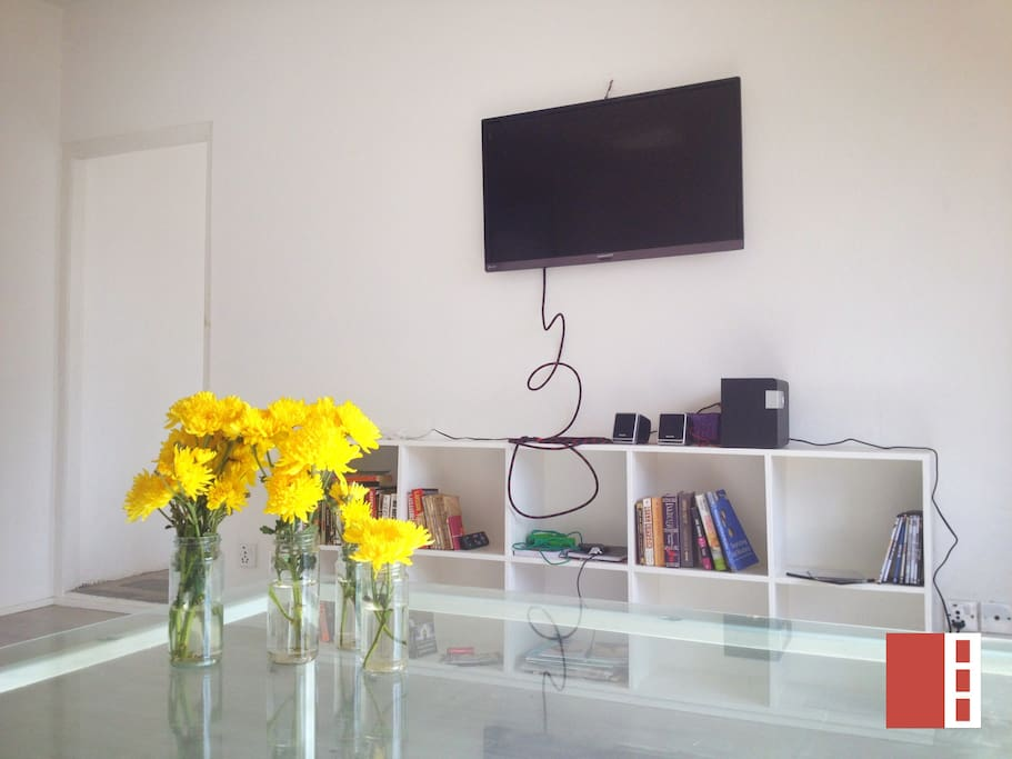 Big flat  LED TV for entertainment with cable