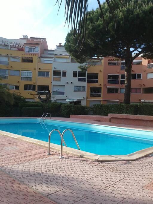 La piscine de la résidence est entourée d'un grand jardin très arboré