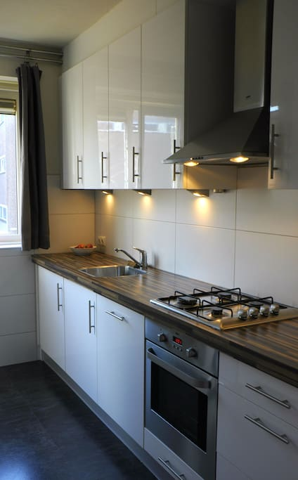 Roomy kitchen, with dishwasher, washing machine,  oven, stove and lots of cooking equipment!