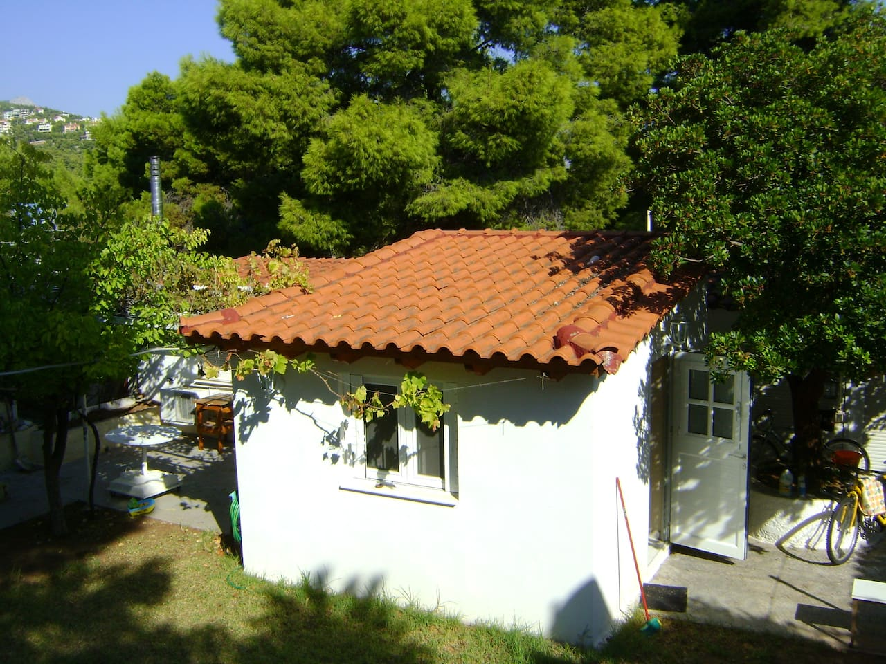 Outside te house