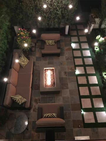Aerial view of front patio