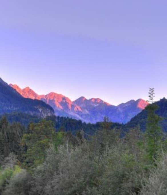 Die Berge im Abendrot