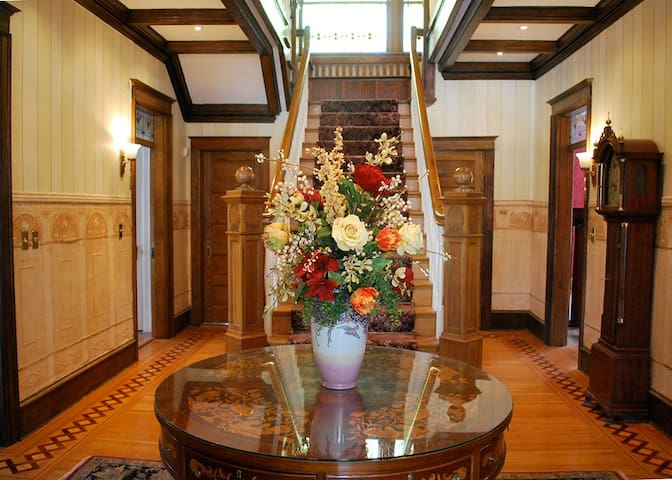Entry hall showing our unusual staircase.