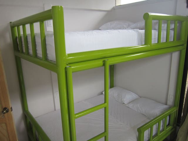 Solid steel bunk beds are brand new and full size