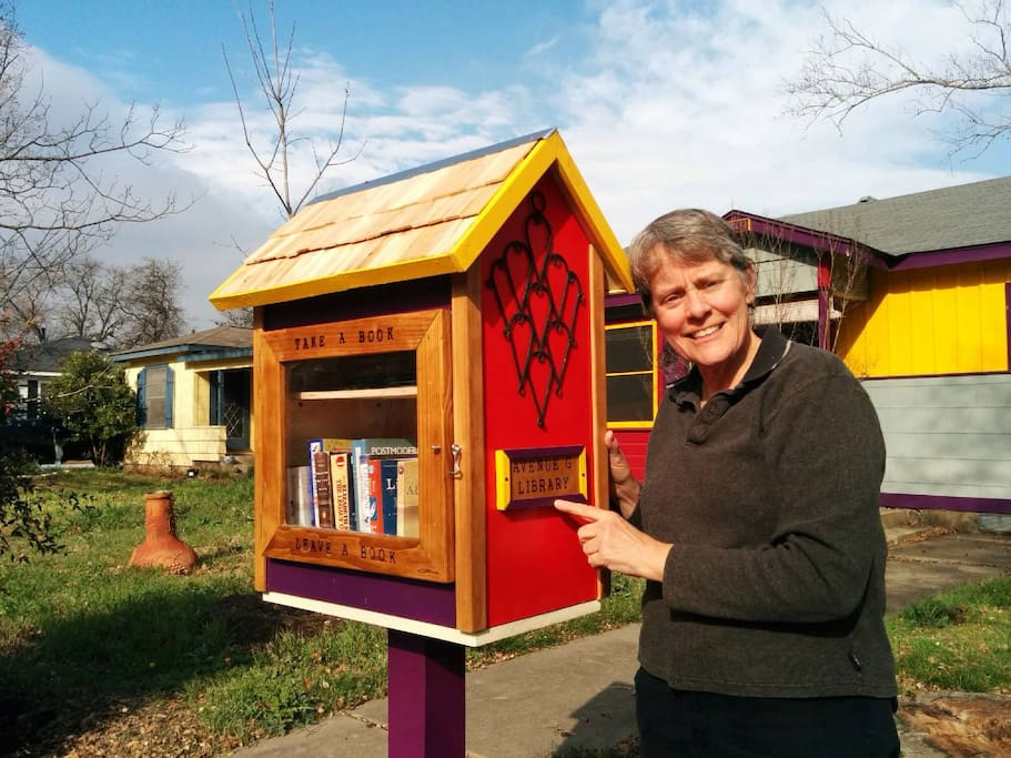 I could not be more tickled! Bring a book and take a book-The Avenue G Little Library is open for business!