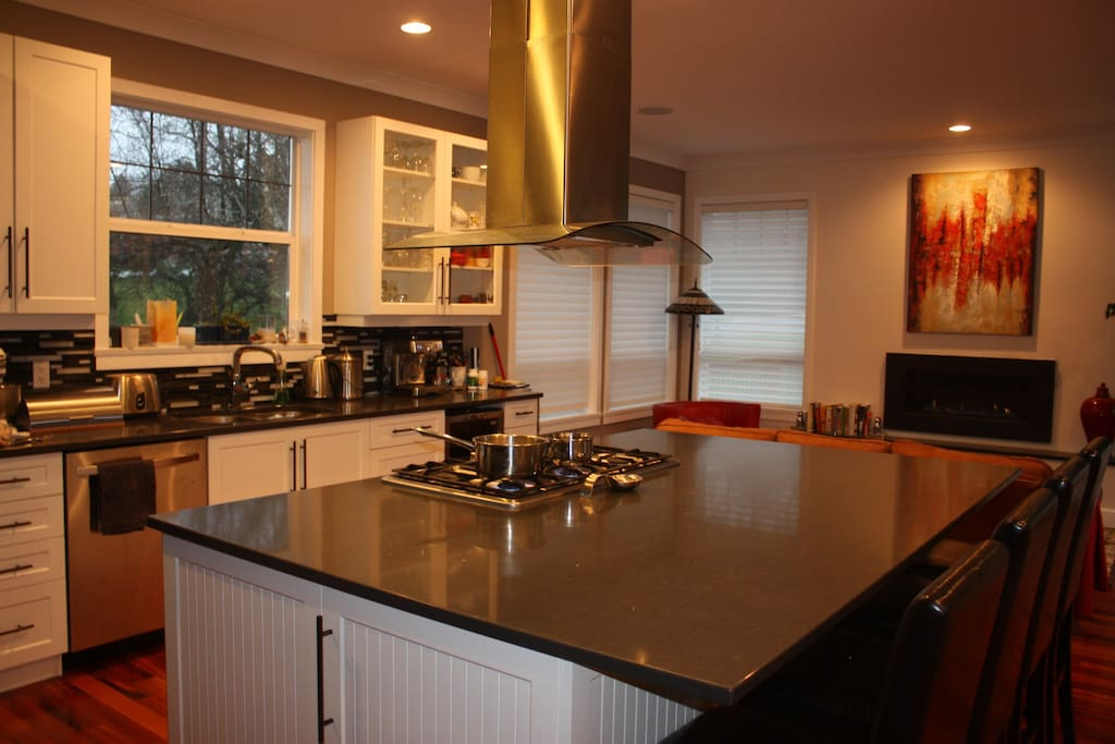 Gourmet kitchen with gas cooktop. A cook's dream.