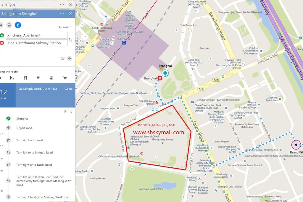 10mins walk to shopping mall and subway station