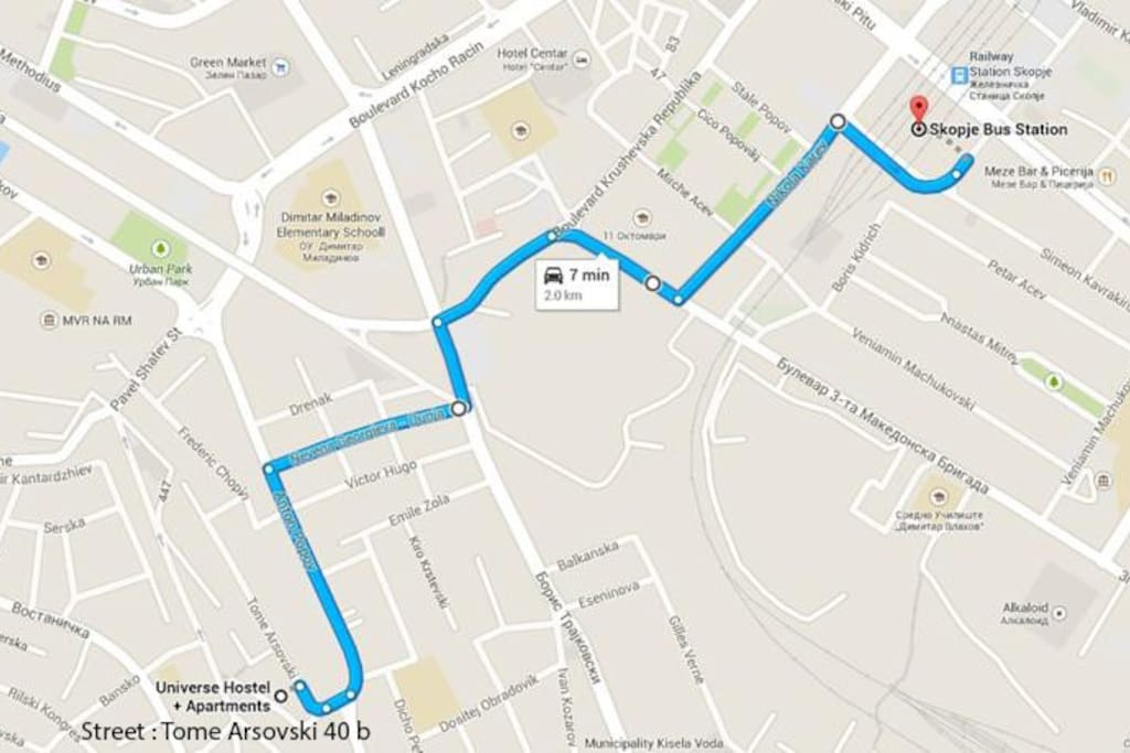 Map from the ''Bus Station'' to OUR PLACE