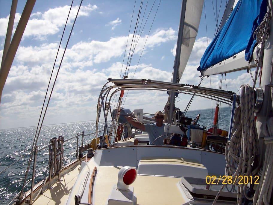 Captain sailing blue water.