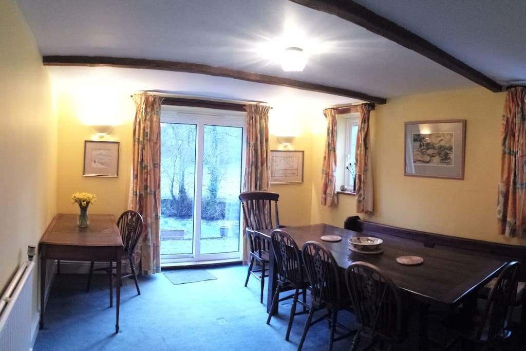 The Old School dining room, with beautiful views of the garden.