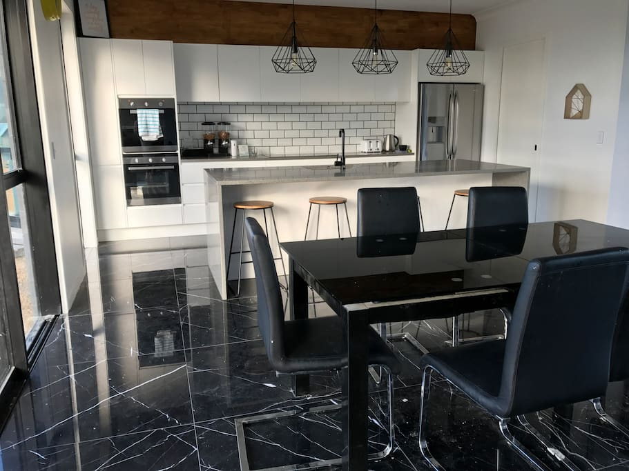 Shared kitchen and dining space