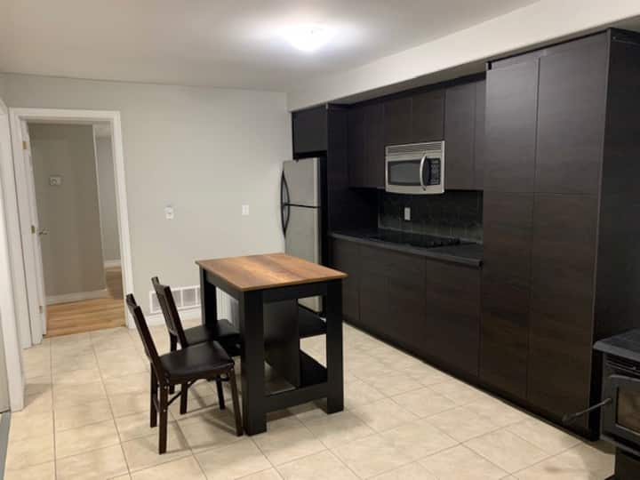 Quiet apartment in walkout basement, full kitchen