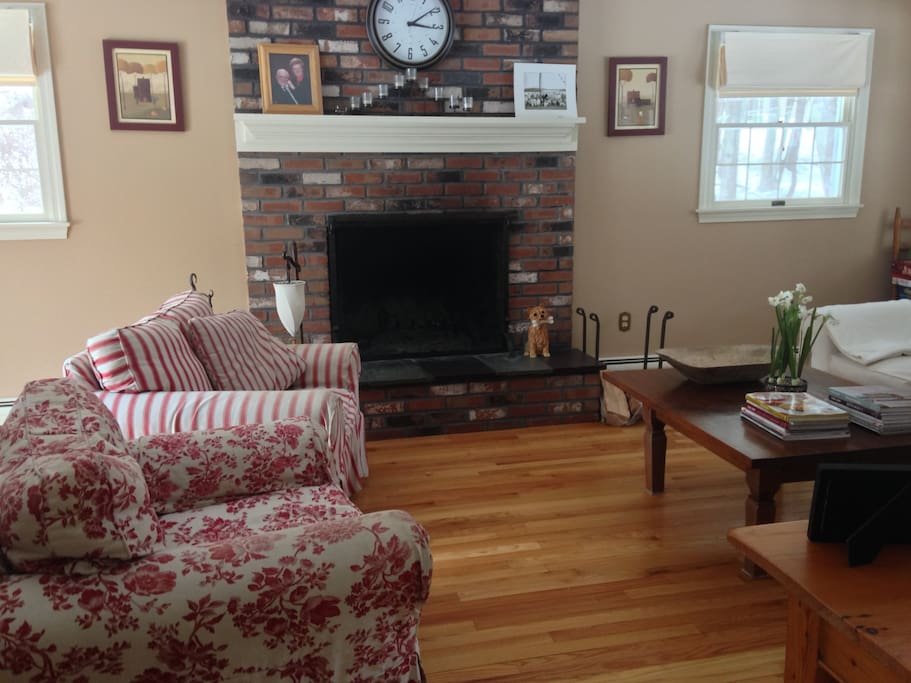 Fireplace and Wood Floors in Living Room