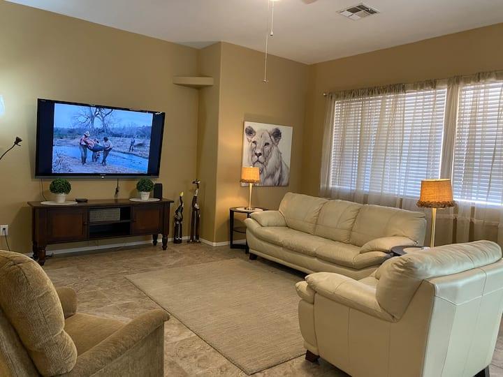 Open floor plan with tv's in each bedroom.  Nice!