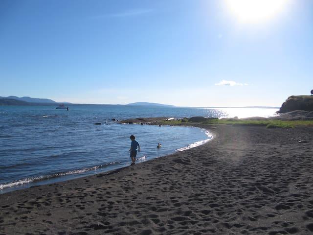 Playa Interior Península, con vista al Volcán
