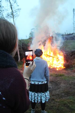 Performance at sunset. Artist Charlotte Bosh Aulie. This year we have story telling and accordion music around the bon fire. Would you like to join us? Free entrance