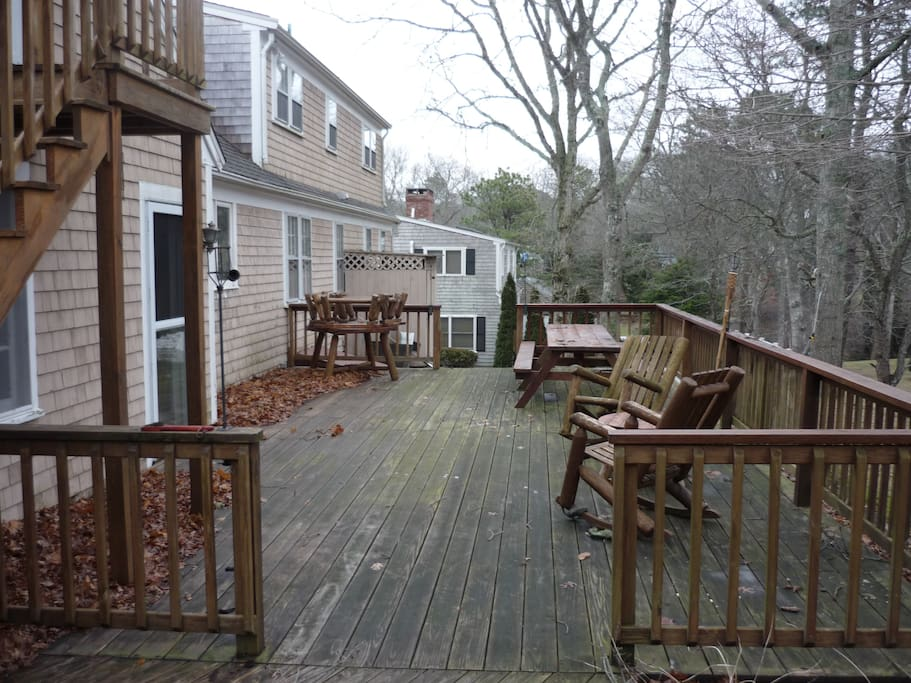 Spacious and private back deck with gas grill