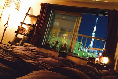 Retro Apartment with Sky Tree View