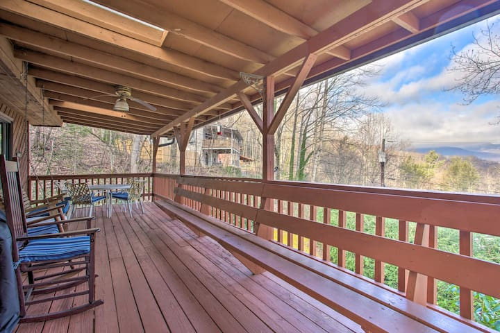 Spacious Cottage w/ Fireplace + Smoky Mtn. View!