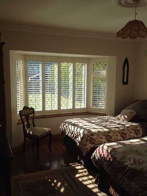 Twin room overlooking the garden