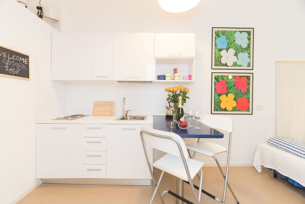 Your room with the kitchenette