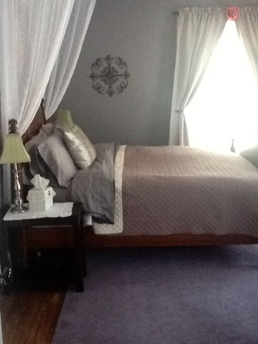 Comfie antique Queen bed and valance, with new mattress.