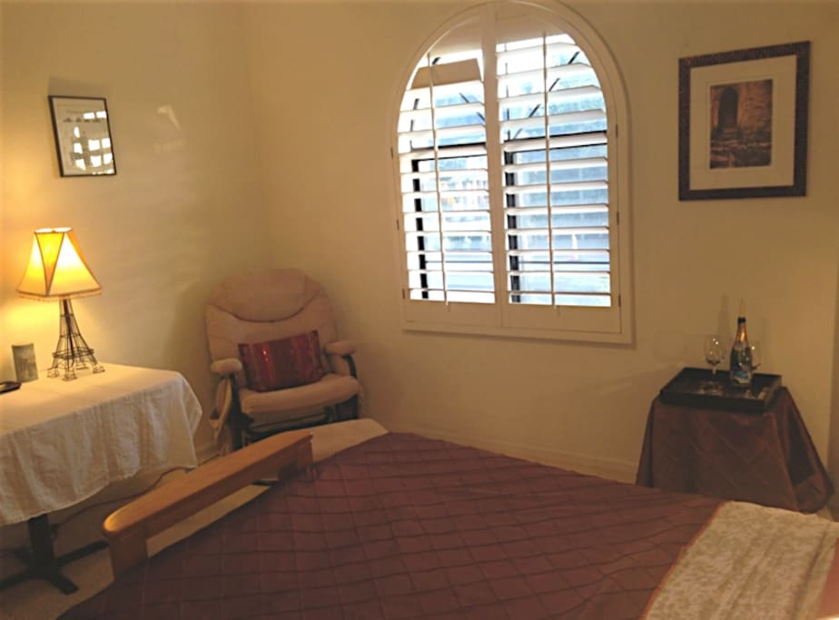 Your bedroom with a nice view, and a rocking chair - perfect to relax!