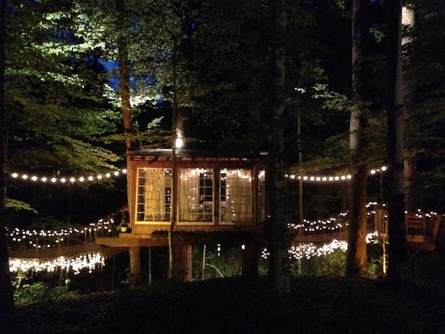 Treehouses at night.