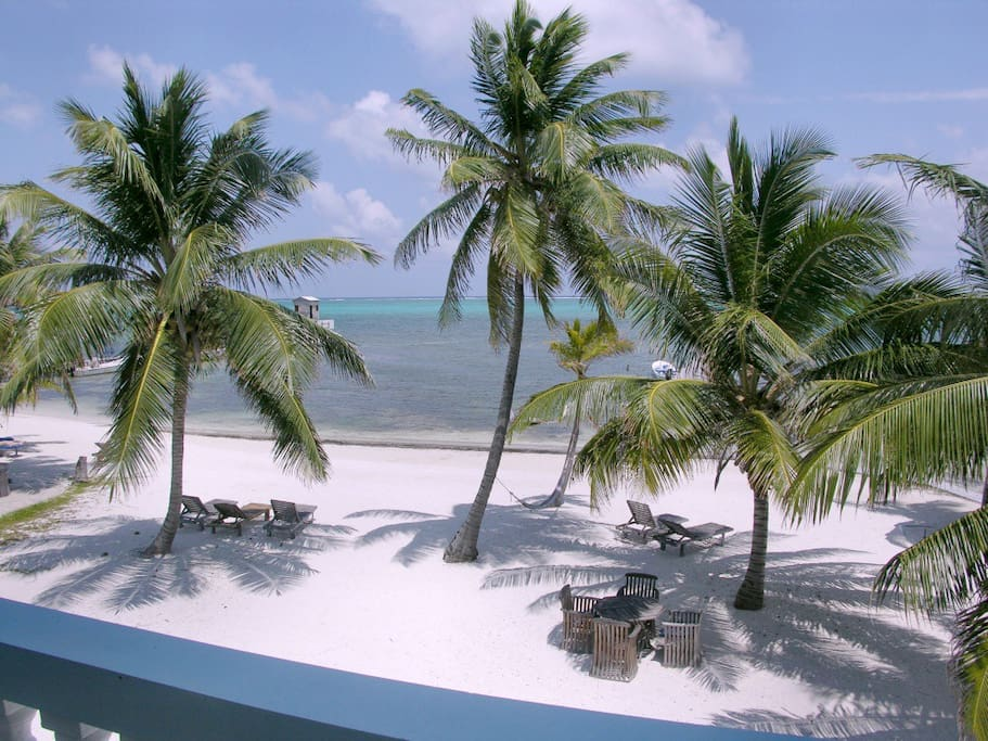 View of private beach from your 2nd floor balcony
