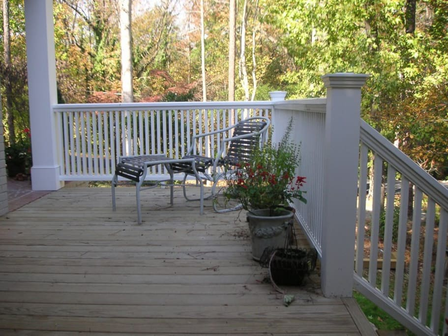 Your deck just outside your private entrance. Peaceful and wifi works here too!