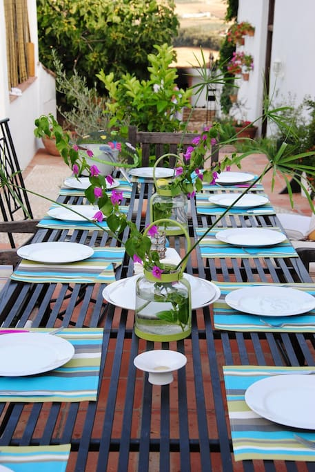 Poolside terrace table and chairs for 20