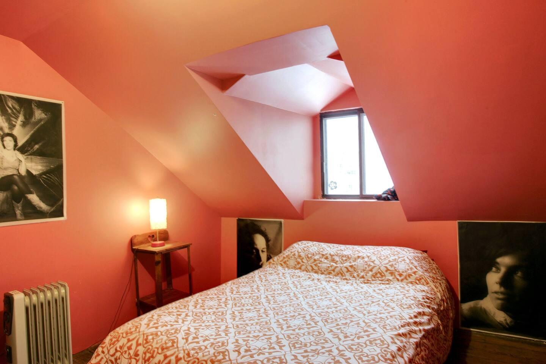 Quiet brick wall bedroom, downtown