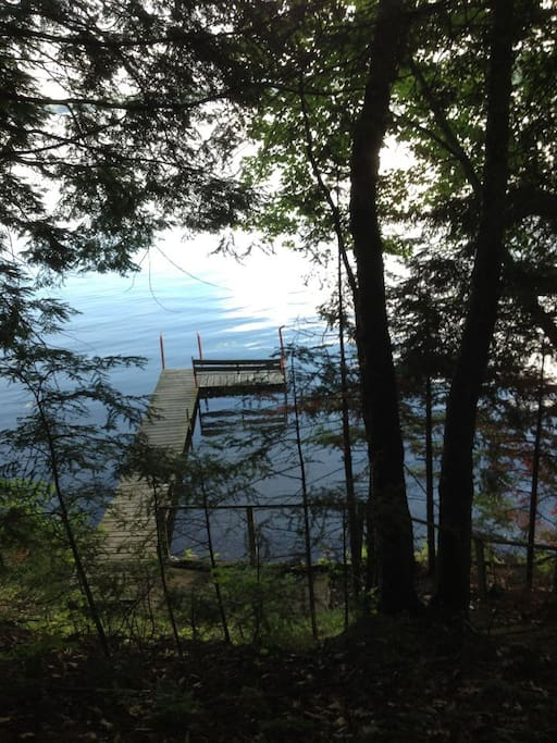 This is a view of the dock and Pickerel Lake.