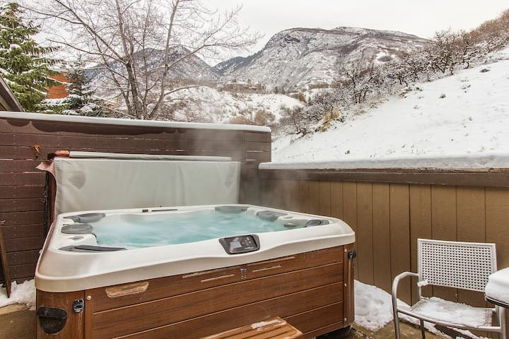 NEW 6 person Bullfrog hot tub on private, secluded patio that backs up to mountain open space. Professionally maintained year-round. Sledding can be done in winter!