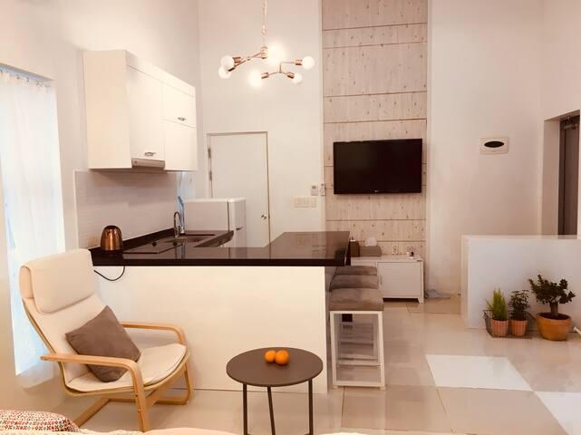 거실과 입구, TV 옆 샤워실겸 화장실. Living room, entrance, bath & toilet room next to TV.
