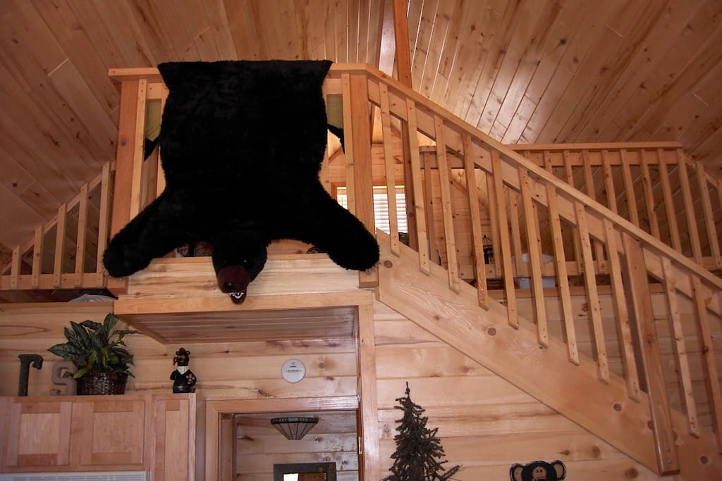 Loft view.  Cabin is decorated in bear decor.