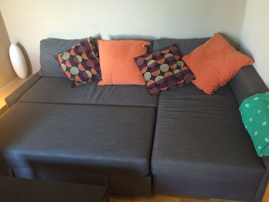 Couch pulled into bed