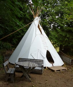 Summer 20' Tipi on Duck Creek Farm - Salt Spring Island - 圆锥形帐篷