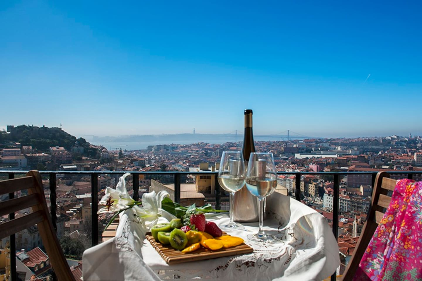 The balcony view (180º  over Lisbon)