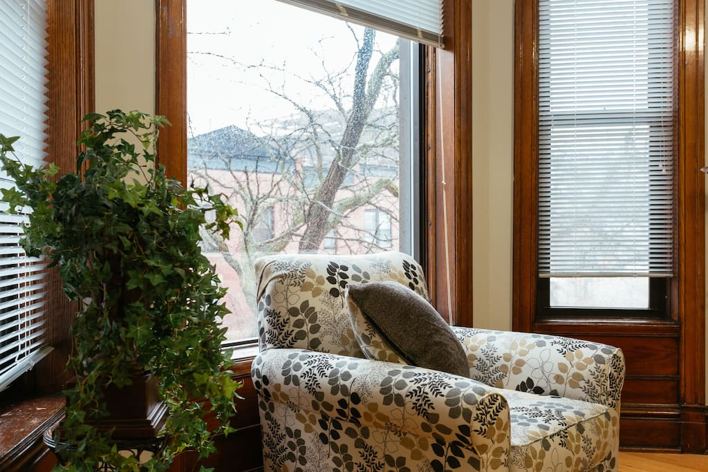 Spacious Living room chair by big picture window