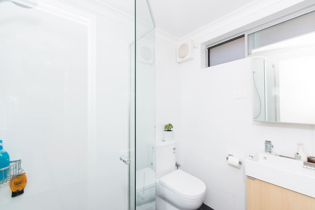 Your private ensuite is bright, modern and clean.