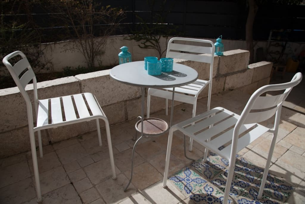 The patio in a sunny winter morning